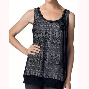 Cabi style 552 lace and top xs black ivory flowy
